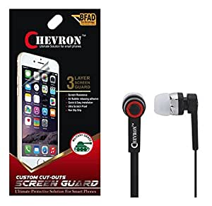 Chevron Matte Screen Guard Protector For Apple iPhone 4S With Chevron 3.5mm Stereo Earphones (With Mic)