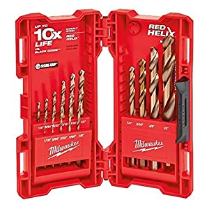 Milwaukee 48-89-2331 15-Piece Cobalt Red Helix Secure Grip Drill Bit Set w/ Hard Plastic Foldout Storage Case (Tamaño: Pack of 1)
