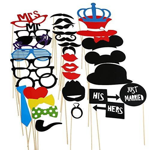 PIXNOR 33pcs Accessoires Photobooth Masquerade Accessoires de Photos Lèvre/ Lunettes/ Cravate/ Couronne/ Lunettes/ Moustache Avec Bâton