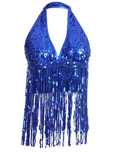 [Anna-Kaci Womens Blue Sequin Fringe Vegas Show Girl V Neck Crop Halter Top] (Vegas Showgirl Costumes)