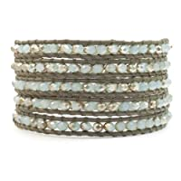 Chan Luu Mint Crystal Wrap Bracelet on Coconut Leather