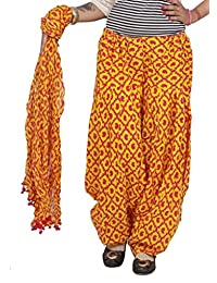Rama Yellow & Pink Color Self Design Cotton Printed Full Patiala