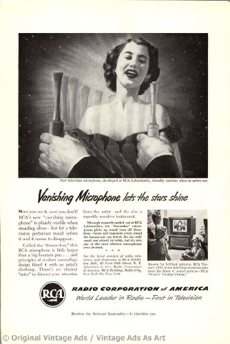"1951 Rca ""Vanishing Microphone Lets The Stars Shine"" Vintage Ad"