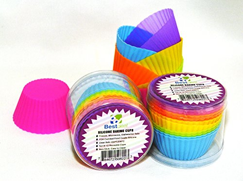 Bestdeal Silicone Baking Cups Standard Non- Stick Food Grade Baking Molds for Muffin Cups Neon Colored Reusable Standard Cupcake Liners Silicone Bakeware Set of 12
