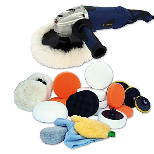 Kingbarney XL Profiset - Poliermaschine / Schleifmaschine 1400 Watt Set 2 + Polierschwamm Zubehörset - 26 Teile - Polierer - Auto polieren