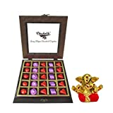 Chocholik Luxury Chocolates - Love & Happiness 25pc Chocolate Box With Small Ganesha Idol - Diwali Gifts