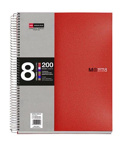 basicos-mr-43003-notebook-8-colours-a5-200-sheets-horizontal-polypropylene-red