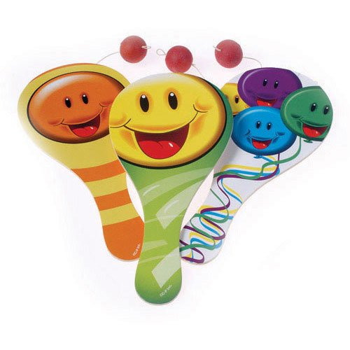 Dozen Assorted Smile Smiley Face Design Classic Wood Paddle Ball Games - 9