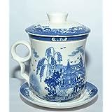 Odishabazaar Teaware White Porcelain Bone Tea Cups Tea Mug (With Lid) Blue Landscape - B016FLPEGM
