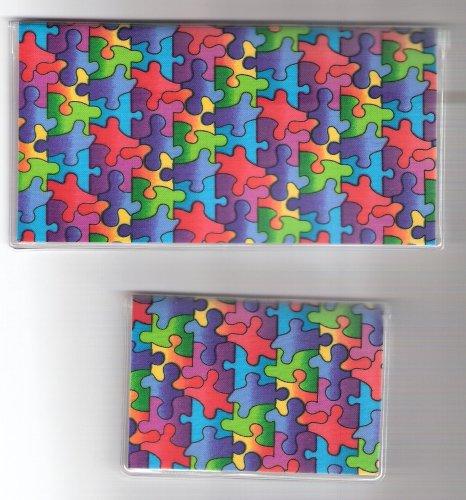 Checkbook Cover Debit Set Autism Awareness Puzzle Pieces