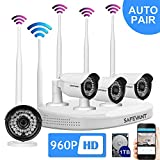 SAFEVANT 8CH 960P(1280X960) HD Wireless Video Security System NVR kits with 4PCS 1.3MP Wireless Weatherproof Bullet IP Cameras,65ft Night Vision, 1TB HDD Pre-installed with HDMI cable,Plug& Play
