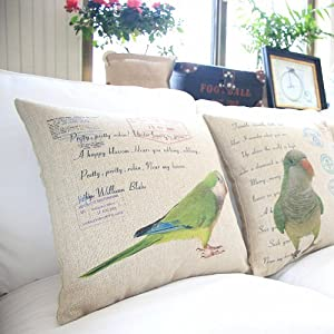 "Yamimi parrot Linen Cloth Pillow Cover Cushion Case 18"",Q172 by Yamimi"