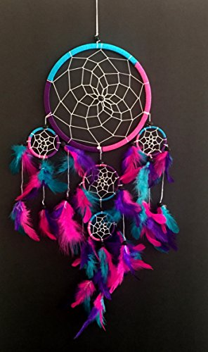 """OMA Dream Catcher - Hand Made Traditional Tie Dye Colors Turquoise, Pink & Purple Feathers - 7"""" Diameter & 25"""" Long - OMA FEDERAL (TM) BRAND"""