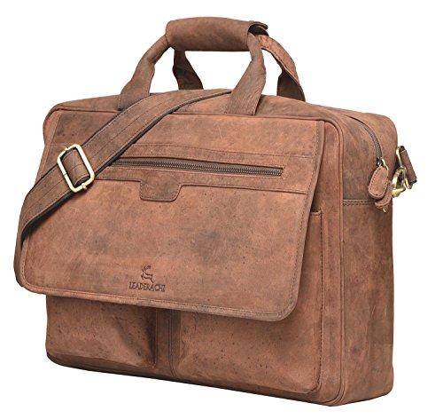 fd2383615b5 Leaderachi - 100% Pure Genuine Real Vintage Hunter Leather Handmade Men  Crossover Shoulder Laptop Messenger