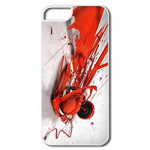 Abstract Music Headphones Iphone 5 5S Case Skin,Design Your Own Geek Cover For Iphone 5
