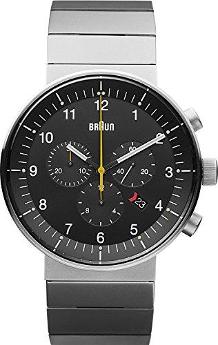 Braun BN0095BKSLBTG - Reloj analógico de cuarzo unisex, correa de acero inoxidable chapado color negro