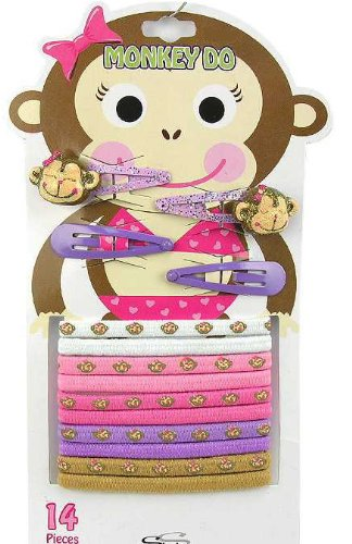 14 Pcs Monkey Hair Barrettes and Pony Tail Holders, Hair Accessories