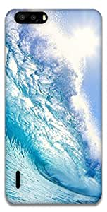 The Racoon Lean blue wave hard plastic printed back case / cover for Huawei Honor 6 plus