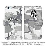 iPhone6S iPhone6 ケース 手帳型 ニューヨークヤンキース スマートフォン カバー iphone ケース アイフォン デザイン MLB公認ライセンス スマホケース - NY・迷彩(グレー)