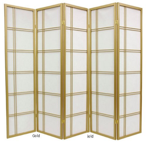 6ft. Double Cross Japanese Shoji Folding Privacy Screen Room Divider - 5 Panel Gold