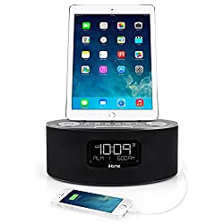 iHome iDL46 Lightning Dock Clock Radio and USB Charge/Play for iPad/iPod and iPhone 5/5S and 6/6Plus iPad Air /iPad Mini (Gray)