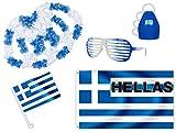 PROMOTION: Kit XXL supporter Grèce (FP-15) Hellas Ensemble de 8 pièces: 1 x drapeau pour voiture ,1 x Grand drapeau, 1 x Lunettes à barreaux, 1 x Caxirola, 4 colliers pour soirée thème pays décoration fête national ambiance sympa...
