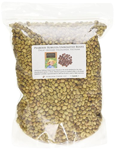 Dalat Peaberry Robusta Unroasted Green Coffee Beans, 3 Pounds
