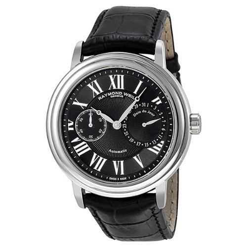 Raymond Weil Maestro Black Dial Black Leather Automatic Mens Watch 2846-STC-002
