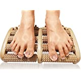 TheraFlow Dual Foot Massager Roller (Large) - Relieve Plantar Fasciitis, Heel/ Foot Pain, Stress - Wooden Acupressure & Reflexology Tool - Detailed Instructions & Tips Sheets Included - Bonus Printable PDF e-Reflexology Chart & Info-graphic