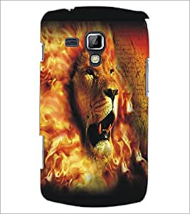PrintDhaba Lion Face D-5426 Back Case Cover for SAMSUNG GALAXY S DUOS S7562 (Multi-Coloured)
