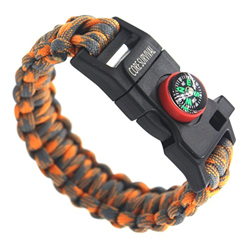 Stocking Stuffer! Paracord Survival Bracelet - Hiking Multi Tool, Emergency Whistle, Compass for Hiking, Camp Fire Starter! (Orange/grey)