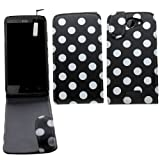 Samrick Polka Dots Specially Designed Leather Flip Case, Screen Protector, Microfibre Cloth, White High Capacitive Mini Stylus Pen for HTC One X/One X+/One XL - Black/White
