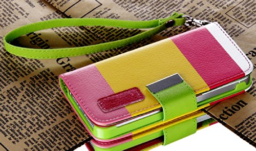 Mylife Textured Koskin Faux Leather Slim Wallet - Pink Color Block Case For Iphone 5/5S (5G) 5Th Generation Itouch Smartphone By Apple