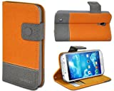 Shenit Samsung Galaxy S4 Leather Case Wallet Flip Cover Dual Tone Folio with Credit Business Card Holder - Orange
