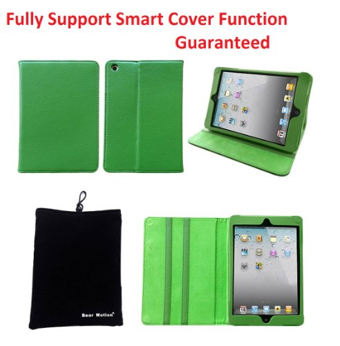 "Bear Motion ® 100% Genuine Leather Folio Case for iPad Mini 7.9"" / the 7.9 Inch Mini iPad Cover (Support Smart Cover Function) - MP Green"