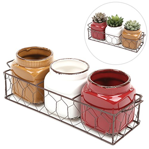 MyGift Set of 3 Small Rustic Ceramic Plant Pots w/ Double Handle Planter Basket