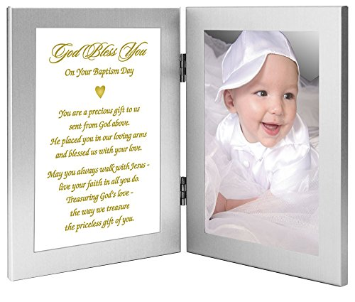 "Baby Baptism Gift From Grandparents, Godparents, Etc - ""Precious Gift From God Above"" - In Double Frame - Add Photo"