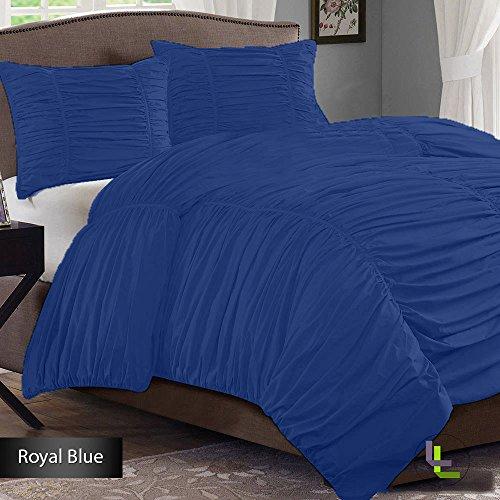 Floris Fashion Cal King 500Tc 100% Egyptian Cotton Egyptian Blue Solid Superb Finish 3Pcs Gathered Ruffle Duvet Set Solid front-522098