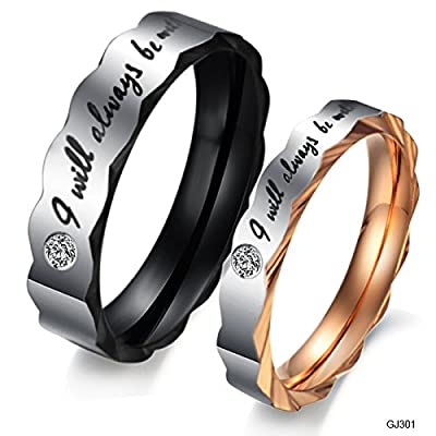 "OPK Jewelry 2pcs Memorable Stainless Steel Love ""I Will Always Be with You"" Couples Wedding Promise Band Valentine's Day Gifts"