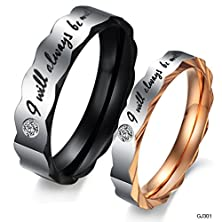 "buy Opk Jewelry 2Pcs Memorable Stainless Steel Love ""I Will Always Be With You"" Couples Wedding Promise Band Valentine'S Day Gifts"