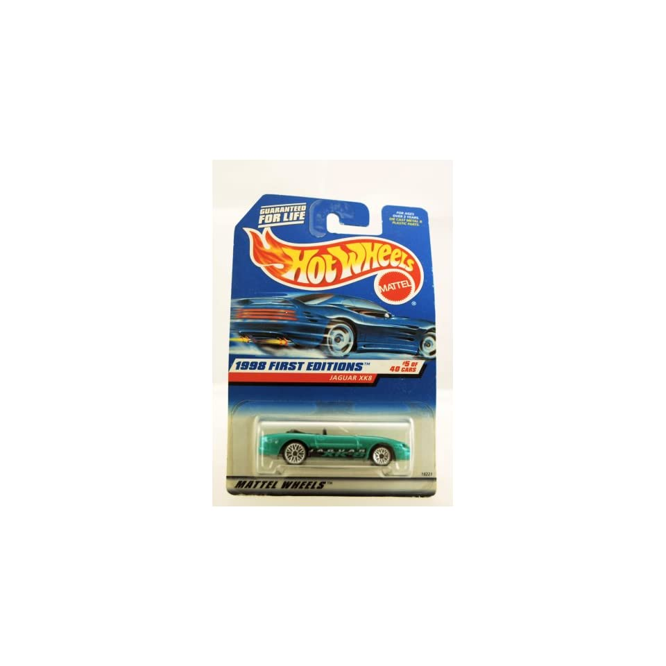 Hot Wheels   1998 First Editions   Jaguar XK8   #5 of 40 Cars   Green custom Paint   Collector #639   Limited Edition   Collectible
