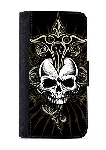 Case Fun Apple Iphone 5C Faux Leather Wallet Case - Black Skull