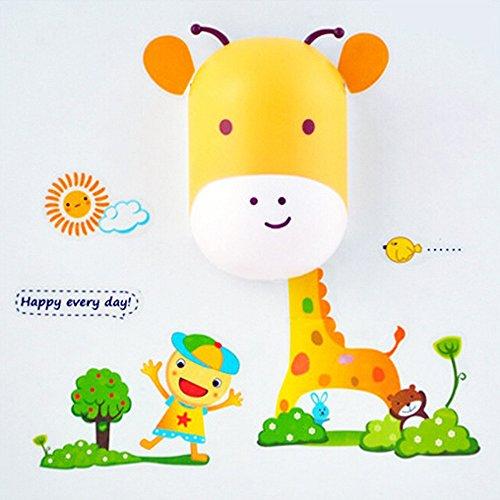 Lexitek DIY Intelligent Control Light Sensor 3D cartoon Led Wall Night Lights Wall Sticker Cute Art Decal Night light for kids Bedroom Decoration (Cute Giraffes)