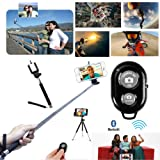 Extendable Camera Selfie Self Portrait Shooting Pole Adjustable Handheld Monopod Mount Holder for Iphone 5s 5c 5 4s 4 HTC One LG Sony Samsung Galaxy Mobile Cell Phone with Bluetooth Remote Camera Wireless Shutter