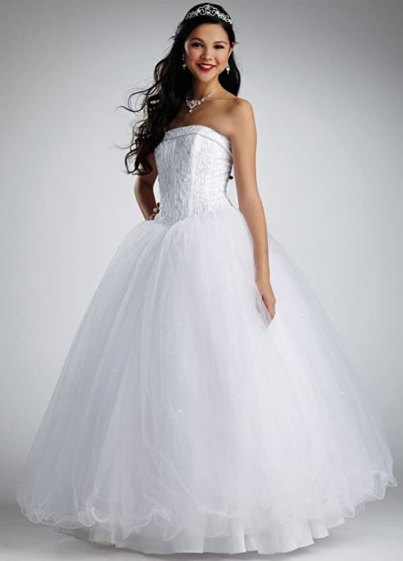 SAMPLE Strapless Tulle Ball Gown Wedding Dress with Beaded Satin Bodice..