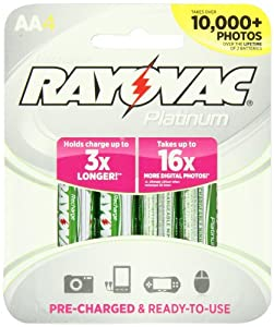 Rayovac Platinum Pre-Charged NiMH AA Size Batteries, PL715-4 GEN, 4-Pack