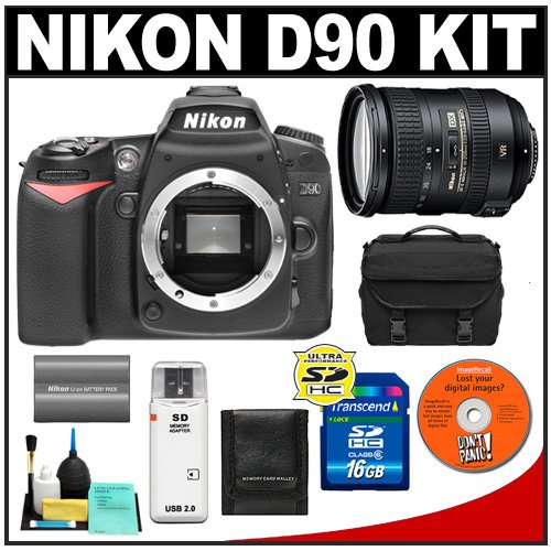 Nikon D90 Digital SLR Camera Body + Nikon 18-200mm VR II Lens + 16GB Card + Nikon EN-EL3e Battery + Case + Accessory Kit