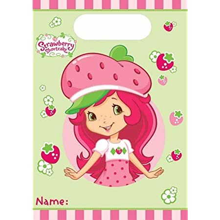 These Strawberry Shortcake Treat Sacks are big enough to fill with candy measuring 6.25 inches x 8.5 inches, so also add small party favors for each guest. Tie with a licorice string and if you punch a small hole at the top of the Strawberry Shortcak...
