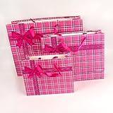 Tartan Print Gift Bags (Medium 32cm, Pink)