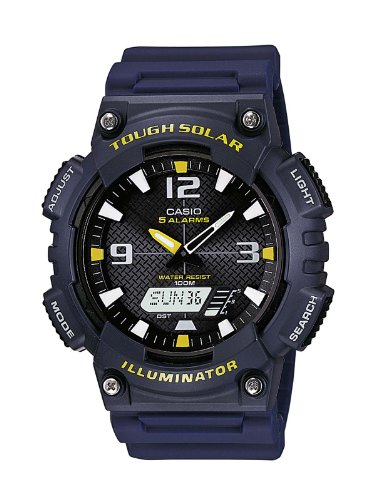 Casio Men's Quartz Watch with Black Dial Analogue - Digital Display and Blue Resin Strap AQ-S810W-2AVEF